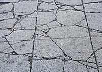 Cracks in concrete pavement.