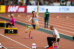 London, August 11 2017 . Alina Rotaru, Romania, in the women's long jump final on day eight of the IAAF London 2017 world Championships at the London Stadium. © Paul Davey.