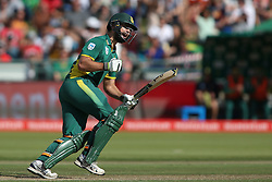 Rilee Rossouw of South Africa celebrates reaching his hundred during the 5th ODI match between South Africa and Australia held at Newlands Stadium in Cape Town, South Africa on the 12th October  2016<br /> <br /> Photo by: Shaun Roy/ RealTime Images