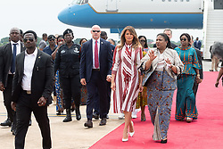 October 2, 2018 - Accra, Ghana, West Africa - First Lady Melania Trump with Rebecca Akufo-Addo, the First Lady of the Republic of Ghana, and students at Kotoka International Airport in Accra, Ghana. (Credit Image: ? Andrea Hanks/White House via ZUMA Wire/ZUMAPRESS.com)