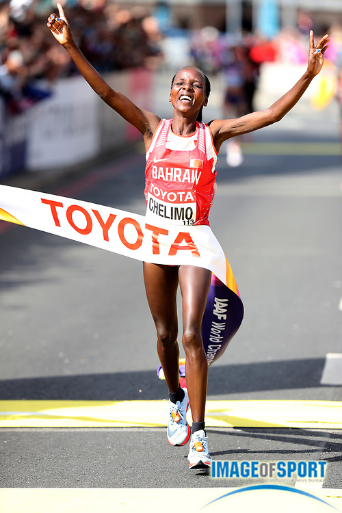 Rose Chelimo (BRN) celebrates after winning the women's marathon in 2:27:11 in the IAAF World Championships in Athletics in London on Sunday, August 6, 20017. (Jiro Mochizuki/Image of Sport)