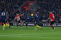 Football - 2018 / 2019 Premier League - Southampton vs. West Ham United<br /> <br /> Southampton's Stuart Armstrong gets a curling shot on goal at St Mary's Stadium Southampton<br /> <br /> COLORSPORT/SHAUN BOGGUST