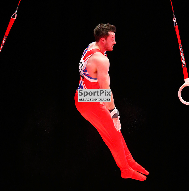 2015 Artistic Gymnastics World Championships being held in Glasgow from 23rd October to 1st November 2015...Kristian Thomas (Great Britain) competing in the Still Rings competition..(c) STEPHEN LAWSON | SportPix.org.uk