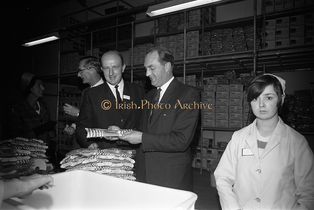 10/10/1966<br /> 10/10/1966<br /> 10 October 1966<br /> Opening of new Roma Foods Products Ltd. factory at Finglas, Dublin. Picture shows  Mr. Patrick Meade, Managing Director (left) and  to Mr. George Colley, Minister for Industry and Commerce examining pasta products.