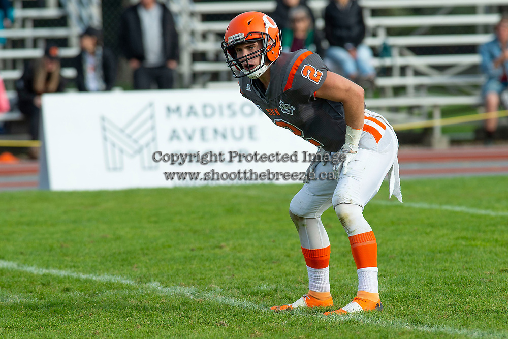 KELOWNA, BC - OCTOBER 6: Garrett Cape #2 of Okanagan Sun stands on the field against the VI Raiders at the Apple Bowl on October 6, 2019 in Kelowna, Canada. (Photo by Marissa Baecker/Shoot the Breeze)