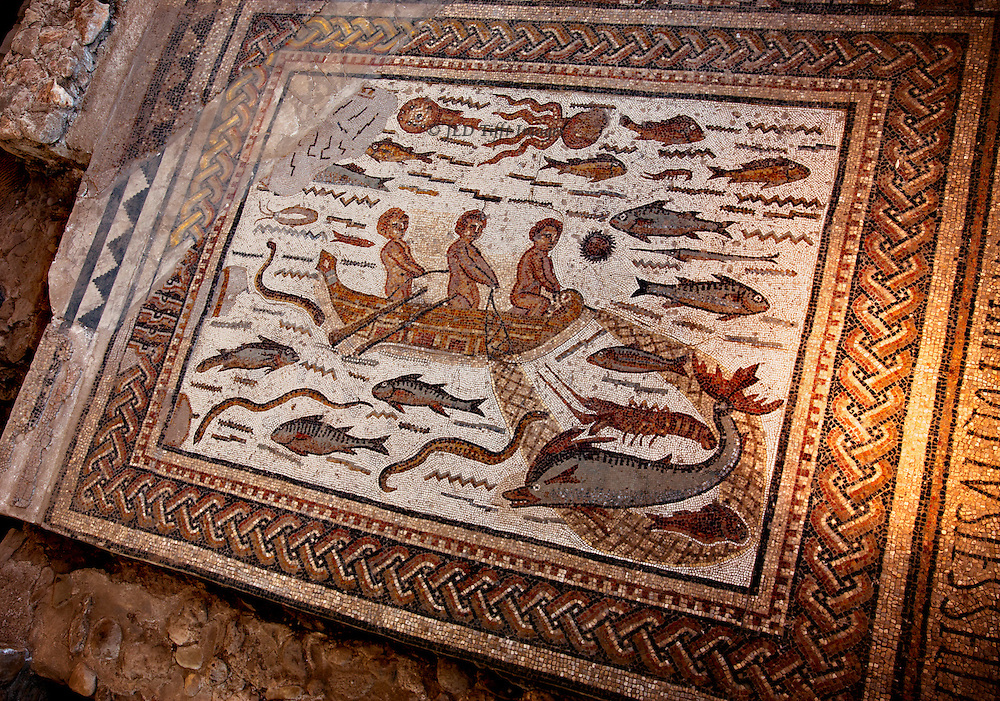 Ancient Roman mosaic panel with fish, eels, and three fishermen in a rowboat using a net.