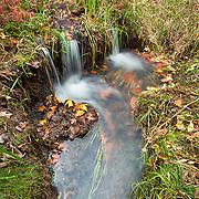 Waterfalls from a small woodland creek;  Minnesota.