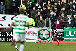 Hearts Kyle Lafferty scores his side's second goal of the game during the Ladbrokes Scottish Premiership match at Tynecastle Stadium, Edinburgh.
