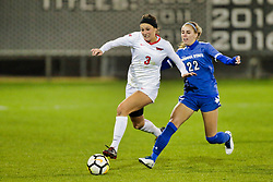 NORMAL, IL - October 17:  Kiley Czerwinski & Alina Steffen during an NCAA Missouri Valley Conference (MVC)  women's soccer match between the Indiana State Sycamores and the Illinois State Redbirds October 17 2018 on Adelaide Street Field in Normal IL (Photo by Alan Look)