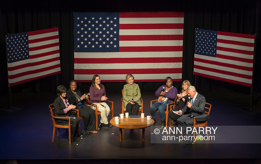 Port Washington, New York, USA. April 11, 2016. HILLARY CLINTON, Democratic presidential primary candidate, has a discussion on gun violence prevention with Rep. STEVE ISRAEL and activists who lost family members due to shootings: (L-R) RITA KESTENBAUM who lost her daughter Carol at Arizona State University; MARIE DELUS who lost her nephew Pierre-Paul Jean-Paul in Queens; ERICA LAFFERTY SMEGIELSKI who lost her mother Dawn Lafferty Hochsprungand the Sandy Hook Elementary School Principal in Newtown CT; NATASHA CHRISTOPHER who lost her 15-year-old son Akeal in Brooklyn; and SANDY PHILLIPS who lost her daughter Jessica Ghawi in Aurora, Colorado theater shooting.