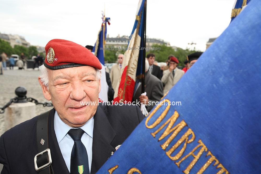 France, Paris Veteran memorial service at the Arch de Triumph,