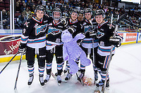 KELOWNA, CANADA - DECEMBER 5: Tanner Wishnowski #9, Dillon Dube #19, Gordie Ballhorn #4, Cole Linaker #26 Kole Lind #16 and Calvin Thurkauf #27 of Kelowna Rockets stand on the ice with a teddy bear after the annual teddy bear toss against the Portland Winterhawks on December 5, 2015 at Prospera Place in Kelowna, British Columbia, Canada.  (Photo by Marissa Baecker/Shoot the Breeze)  *** Local Caption *** Tanner Wishnowski;, Dillon Dube;, Gordie Ballhorn; Cole Linaker; Kole Lind; Calvin Thurkauf;
