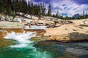 Cascade on the Tuolumne River under Unicorn Peak, Tuolumne Meadows, Yosemite National Park, California USA