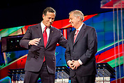 Presidential hopeful Rick Santorum (left) and Lindsay Graham before the CNN Republican Presidential Debate at the Venetian Hotel and Casino in Las Vegas.