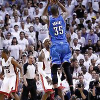 19 June 2012: Oklahoma City Thunder small forward Kevin Durant (35) takes a jumpshot during the third quarter of Game 4 of the 2012 NBA Finals, Thunder at Heat, at the AmericanAirlinesArena, Miami, Florida, USA.