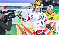 26.01.2016, Planai, Schladming, AUT, FIS Weltcup Ski Alpin, Schladming, Slalom, Herren, 2. Durchgang, im Bild Marcel Hirscher (AUT) // Marcel Hirscher of Austria celebrate after his 2nd run of men's Slalom Race of Schladming FIS Ski Alpine World Cup at th Planai in Schladming, Austria on 2016/01/26. EXPA Pictures © 2016, PhotoCredit: EXPA/ Johann Groder