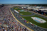 Oct 9, 2016; Concord, NC, USA; (Editors note: a tilt-shift lens was used to create this image) A overall view of the field during a restart during the Bank of America 500 at Charlotte Motor Speedway. Mandatory Credit: Peter Casey-USA TODAY Sports