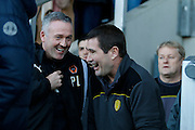 Wolverhampton Wanderers head coach Paul Lambert and Burton Albion manager Nigel Clough share a joke before kick off during the EFL Sky Bet Championship match between Burton Albion and Wolverhampton Wanderers at the Pirelli Stadium, Burton upon Trent, England on 4 February 2017. Photo by Richard Holmes.