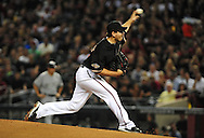 Oct. 5 2011; Phoenix, AZ, USA; Arizona Diamondbacks pitcher Joe Saunders (34) delivers a pitch during the first inning against the Milwaukee Brewers at game four of the 2011 NLDS at Chase Field. Mandatory Credit: Jennifer Stewart-US PRESSWIRE.