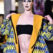 Dyas Ali showcases a set (Vaya Lesso) at SMGlobal Catwalk - London Fashion Week F/W19 at Clayton Crown Hotel,  Cricklewood Broadway, on 1st March 2019, London, UK.