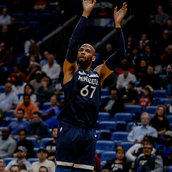 Nov 1, 2017; New Orleans, LA, USA; Minnesota Timberwolves forward Taj Gibson (67) shoots against the New Orleans Pelicans during the second quarter of a game at the Smoothie King Center. Mandatory Credit: Derick E. Hingle-USA TODAY Sports