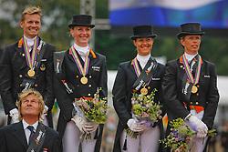 Team Netherlands Gold Medal<br /> Gal Edward, Schellekens Imke, Cornelissen Adelinde, Van Grunsven Anky, chef d'equipe Janssen Sjeff<br /> European Championship Dressage Windsor 2009<br /> © Hippo Foto - Dirk Caremans