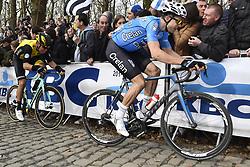 March 25, 2018 - Wevelgem, BELGIUM - Belgian Wout van Aert of Team Sniper pictured in action during the 80th edition of the Gent-Wevelgem cycling race, 251,1 km from Deinze, near Gent, to Wevelgem, Sunday 25 March 2018. BELGA PHOTO DIRK WAEM (Credit Image: © Dirk Waem/Belga via ZUMA Press)