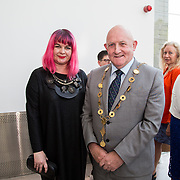 11.05. 2017.                                                 <br /> Over 20 leading Irish and international fashion media and influencers converged on Limerick for 24 hours on, Thursday, 11th May for a showcase of Limerick's fashion industry, culminating with Limerick School of Art & Design, LIT, presenting the LSAD 360° Fashion Show, sponsored by AIB.<br /> Pictured at the event were, Dr. Tracy Fahy, LSAD and Cllr. Kieran O'Hanlon, Mayor of Limerick City and County. Picture: Alan Place