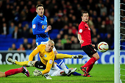 Cardiff City's Rudy Gestede scores for Cardiff City late in the game to make it 1-2 - Photo mandatory by-line: Dougie Allward/JMP  - Tel: Mobile:07966 386802 15/12/2012 - SPORT - FOOTBALL -  Championship -  Cardiff-  New Cardiff City Stadium  -  Cardiff City v Peterborough United