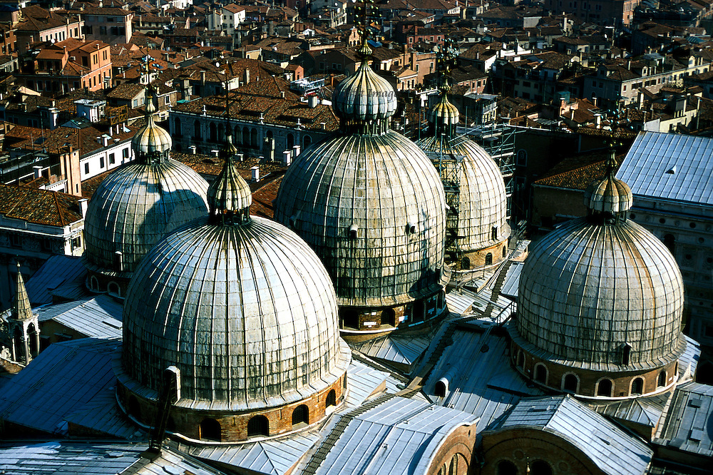 San Marco domes from the top of the Campanile. All five domes and some of the roof can be seen, like a cluster of steamed puddings..