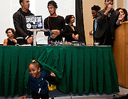One of the younger attendees plays under the DJ table at the All Black Affair at Baker University Center Ballroom at Ohio University on Friday, January 29, 2016. © Ohio University / Photo by Sonja Y. Foster