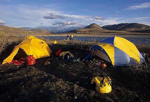 Alaska, Arctic National Wildlife Refuge, ANWR. Camping at Kongakut River.
