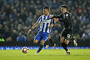 Brighton & Hove Albion central midfielder Beram Kayal (7) and Milton Keynes Dons defender George Williams (12) during the The FA Cup match between Brighton and Hove Albion and Milton Keynes Dons at the American Express Community Stadium, Brighton and Hove, England on 7 January 2017.