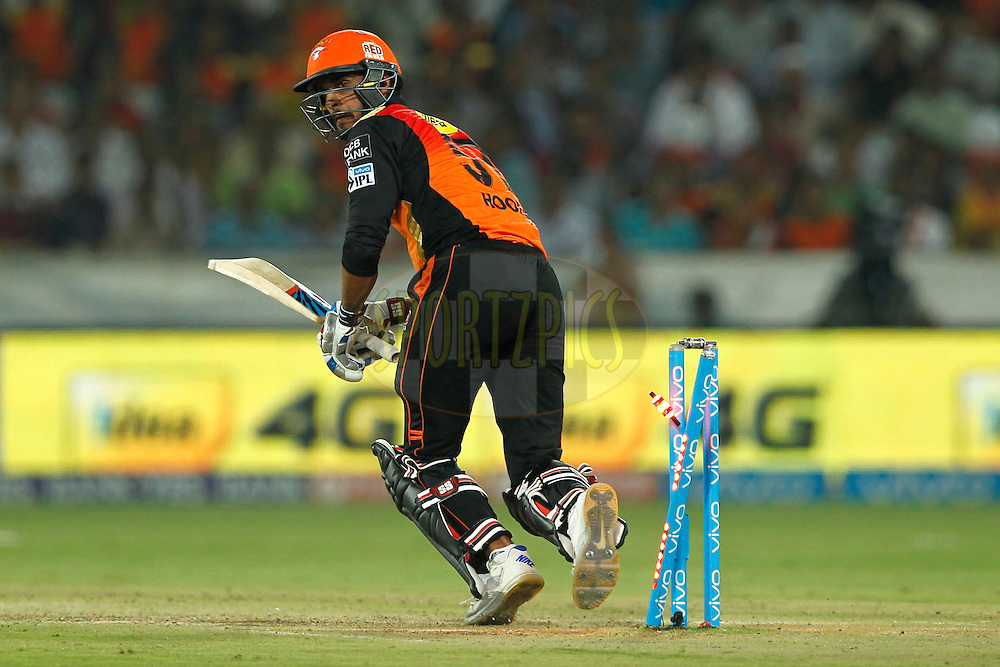 Deepak Hooda of Sunrisers Hyderabad hit wicket on the bowl of Nathan Coulter-Nile of Delhi Daredevils during match 42 of the Vivo IPL 2016 (Indian Premier League ) between the Sunrisers Hyderabad and the Delhi Daredevils held at the Rajiv Gandhi Intl. Cricket Stadium, Hyderabad on the 12th May 2016<br /> <br /> Photo by Deepak Malik / IPL/ SPORTZPICS