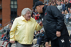 Leyton Orient's manager Russell Slade gets some a dvice from an eldery female fan   - Photo mandatory by-line: Mitchell Gunn/JMP - Tel: Mobile: 07966 386802 29/09/2013 - SPORT - FOOTBALL -  Matchroom Stadium - London - Leyton Orient v Walsall - Sky Bet League One