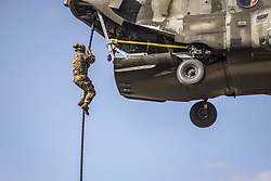 May 22, 2017 - Greece - A soldier conducts fast-rope training from a Greek helicopter as a part of Exercise Bayonet Minotaur 2017 in Thessaloniki, Greece, May 22, 2017. The exercise aimed to enhance NATO operational standards between U.S. and Greek armed forces. (Credit Image: ? Philip Steiner/Army/DoD via ZUMA Wire/ZUMAPRESS.com)
