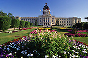 Flower gardens at The Sakstachwan Legislature (parliament). Regina. Saskatchewan. Canada