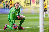 BREDA - NAC Breda - Roda JC , Rat Verlegh stadion , Voetbal , Finale play-offs , seizoen 2014/2105 , 31-05-2015 , NAC Breda keeper Jelle ten Rouwelaar krijgt een afstand schot en reageert dit op medespelers