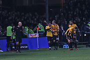 Newport  Padraig Amond (9) scores and celebrates his goal 1-0 first half during the The FA Cup 4th round match between Newport County and Tottenham Hotspur at Rodney Parade, Newport, Wales on 27 January 2018. Photo by Gary Learmonth.