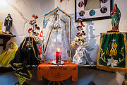 MEXICO CITY, MEXICO:  A shrine to bride of Santa Muerte (St. Death) in Iglesia de la Piedad (Mercy Church) in the Tepito section of Mexico City. St. Death is venerated throughout Mexico and Mexican communities in the United States. The veneration of St. Death started in Mexico's prisons about 10 years and has since spread through working class neighborhoods in many Mexican cities. The worship of St. Death was recognized as an official by the Mexican government in 2003. The Catholic Church in Mexico is opposed to the worship of St. Death and has held rallies and prayer vigils against the Saint. The small church in Tepito is frequently swamped with visitors and the religion has spread quickly through the tough, drug and crime plagued neighborhood, widely considered the most lawless in Mexico City.    PHOTO BY JACK KURTZ