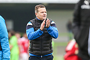 Forest Green Rovers manager, Mark Cooper applauds the fans at the end of the match during the Vanarama National League match between Forest Green Rovers and Wrexham FC at the New Lawn, Forest Green, United Kingdom on 18 March 2017. Photo by Shane Healey.