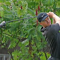 Adam Long follows through on his drive at the first tee during the LeCom Health Challenge Web.com PGA Tour at Peek n Peak July 8, 2017 photo by Mark L. Anderson