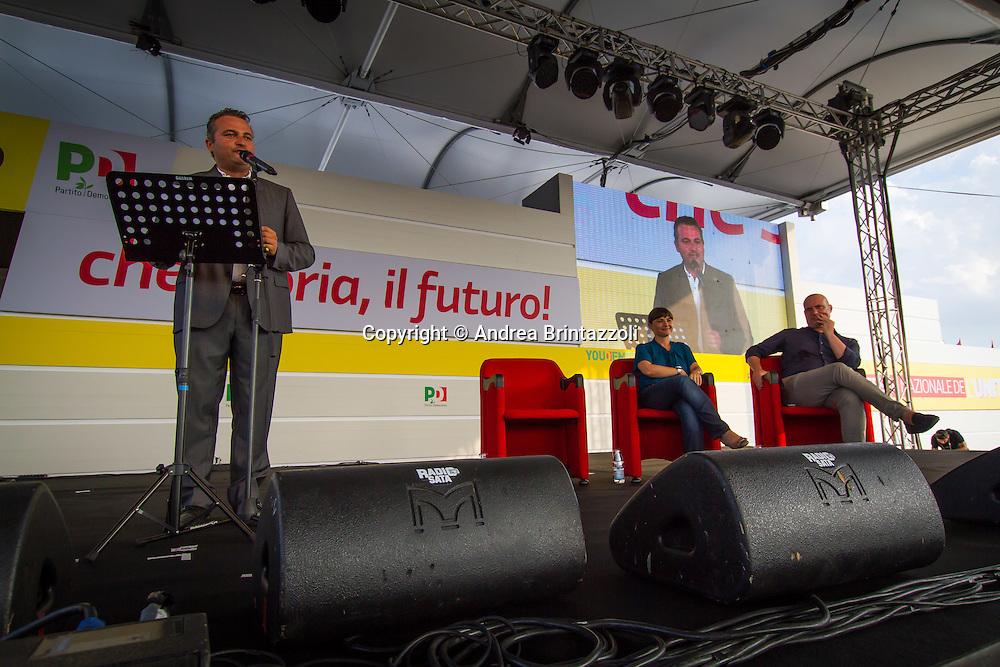 Bologna 27 Agosto 2014 - Inaugurazione Festa Nazionale de L'Unit&agrave;. Che storia, il futuro!<br /> Nella foto: Raffaele Donini, Debora Serracchiani, Stefano Bonaccini