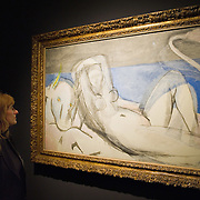 "BRESCIA, ITALY - FEBRUARY 11: A woman admires ""The abduction of Europa"" by Matisse at the Santa Giulia Museum on February 11, 2011 in Brescia, Italy. The exhibition ""Matisse La Seduzione di Michelangelo"" shows  180 works of the French artist and will stay open until June 12th 2011"