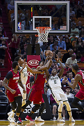 January 14, 2018 - Miami, FL, USA - Miami Heat center Hassan Whiteside (21) fights to get possession of the ball against Milwaukee Bucks' Eric Bledsoe (6) in the first quarter on Sunday, Jan. 14, 2018 at the AmericanAirlines Arena in Miami, Fla. (Credit Image: © Matias J. Ocner/TNS via ZUMA Wire)