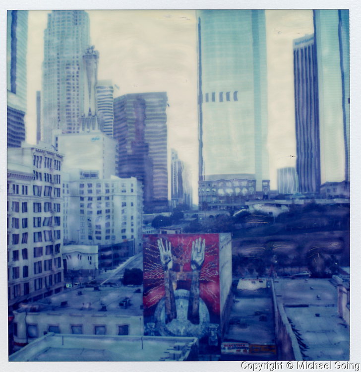 Calle de Eternidad Mural with downtown Los Angeles skyline'