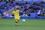 AFC Wimbledon midfielder Dean Parrett (18) with a free-kick during the EFL Cup match between Peterborough United and AFC Wimbledon at ABAX Stadium, Peterborough, England on 9 August 2016. Photo by Stuart Butcher.