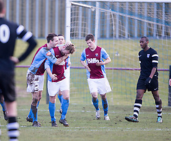 Whitehill Welfare John Hall celebrates after scoring their first goal. <br /> Whitehill Welfare 2 v 1 Edusport Academy, South Challenge Cup Quarter Final played 7/3/2015 at Ferguson Park, Carnethie Street, Rosewell.