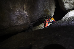 "An expedition member searches for passage within the Miao Room Chamber, China's largest cave chamber by volume, in Ziyun County of southwest China's Guizhou Province, April 14, 2016. In 2014, National Geographic announced Miao Room Chamber, with a volume of some 19.78 million cubic meters, as the world's largest cave chamber. A joint caving expedition code-named ""Pearl"" by explorers and scientists from China and France kicked off here on April 11 during the 19-day exploration, they will conduct comprehensive investigation on famous caves in Guizhou including the Miao Room Chamber and Shuanghe Cave in Suiyang. EXPA Pictures © 2016, PhotoCredit: EXPA/ Photoshot/ Ou Dongqu<br /> <br /> *****ATTENTION - for AUT, SLO, CRO, SRB, BIH, MAZ, SUI only*****"