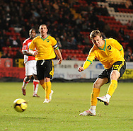 London - Saturday, January 3rd, 2009: Arturo Lupoli of Norwich City scores the equaliser against Charlton to make it 1 -1 during the FA Cup Third Round match at The Valley, London. (Pic by Alex Broadway/Focus Images)